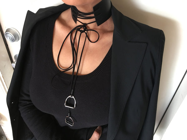 Moda Wide Equestrian Leather and Stirrup Pendant Choker Necklace