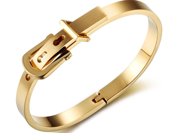 Equestrian Cuff, Stainless Steel Belt Bangle, Eqestrian Style Bracelet - C1