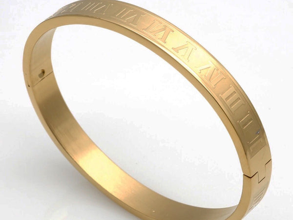 Yellow Gold Stainless Steel 316L Bracelet Cuff, Elegant Roman Numeral Bangle Bracelet