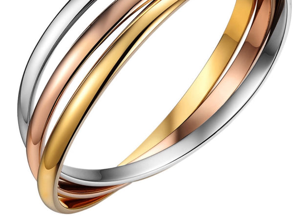Stainless Steel Silver, Rose and Yellow Gold Bangles Cuff Bracelets
