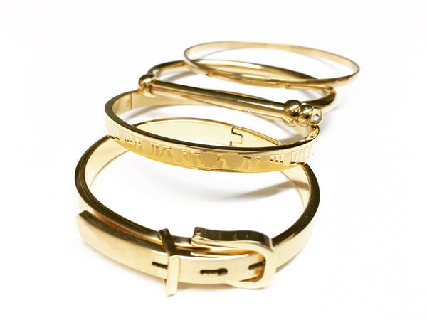 Stainless Steel Cuff Collection Set, Designer and Elegant Bangle Bracelet Set - C1