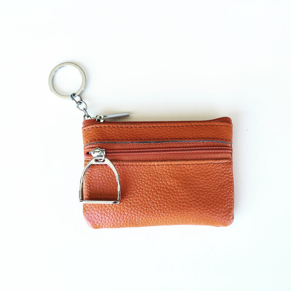 Black Leather Coin Purse and Key Chain | Ideana