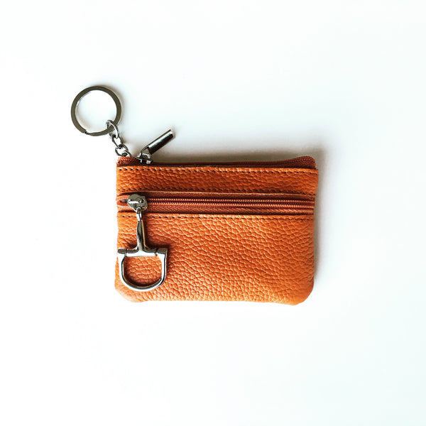 Dark Brown Leather Coin Purse and Key Chain | Ideana