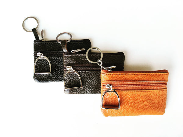 Orange Leather Coin Purse and Key Chain | Ideana