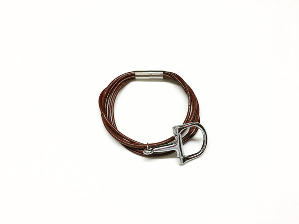 Stirrup and Black Multi Strand Soft Leather Bracelet, Equestrian Style