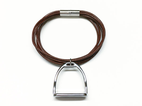 Snaffle Bit Pendant and Multi Strand Soft Leather Bracelet, Equestrian Style - C1