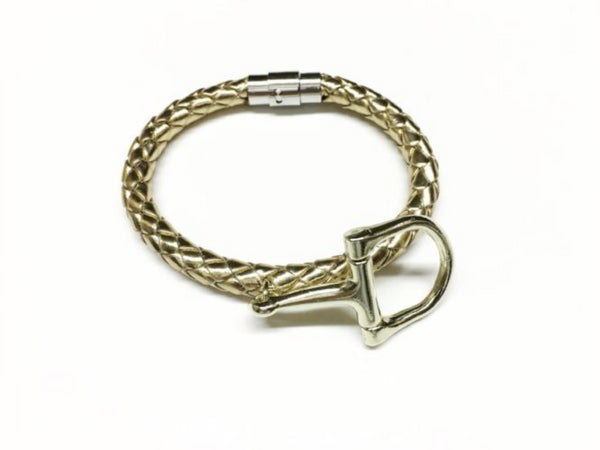 Braided Leather and Stirrup or Snaffle Charm Bracelet, Equestrian Gifts - C1