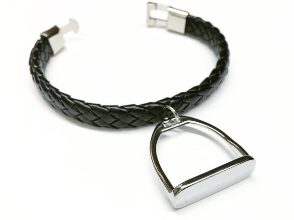 Black Braided Leather and Stirrup or Snaffle Charm Bracelet, Equestrian Gifts - C1