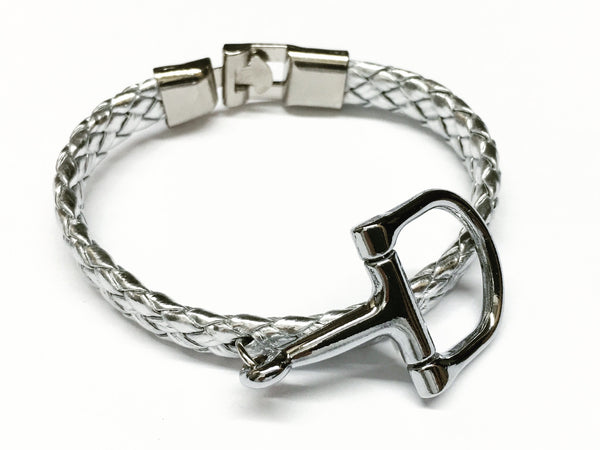 Silver and Black Braided Leather and Stirrup or Snaffle Charm Bracelet, Equestrian Gifts - C1