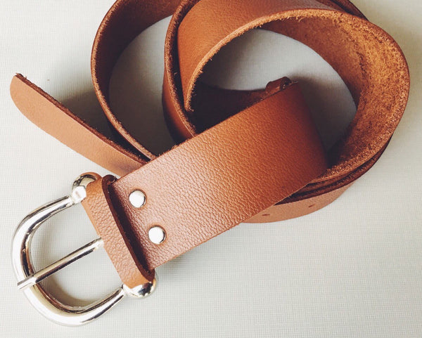 French Vinatge Style Brown Leather Belt, Equestrian Belt,  Brown leather belt