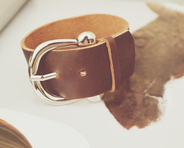 Leather Wrap Cuff, Brown Leather with Silver Buckle, Wrap Bracelet, Leather Cuff, Handmade