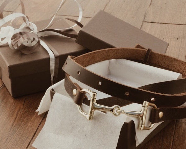 Brown Leather Belt, Horse Bit, thin brown leather belt