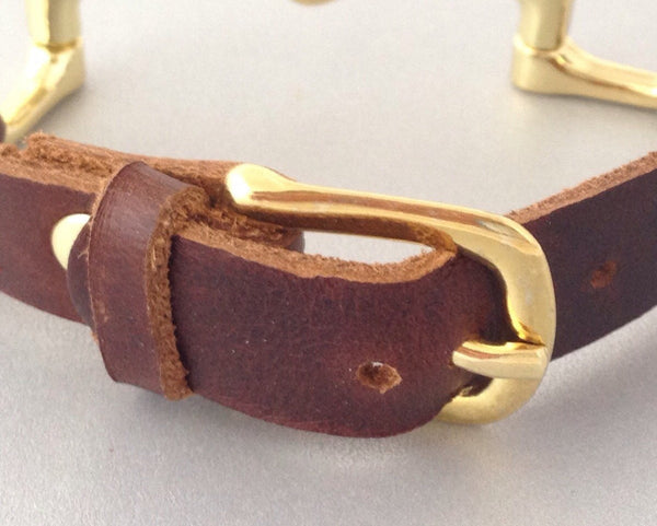 Dark Brown Leather Wrap Bracelet with Horse Bit | Ideana