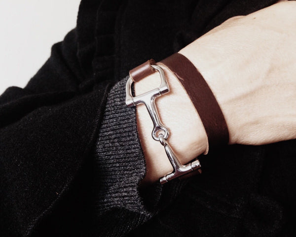 Leather Double Wrap Bracelet Real Genuine Leather and Silver or Gold Horse Bit Bracelet - Unisex