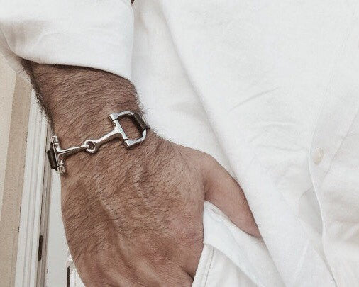 Black Leather Bit Horse Bracelet for Men | Ideana