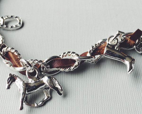 Black Leather Equestrian Horse Charm Bracelet | Ideana