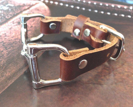 Leather Wrap Equestrian Bracelet B3913 | Ideana
