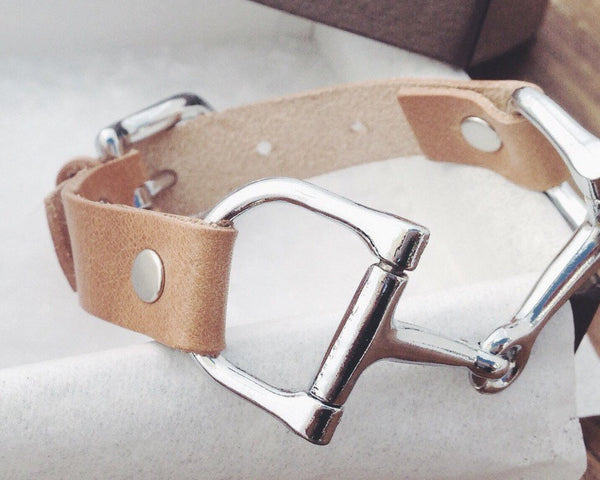 Leather Horse Bit Bracelet Handcrafted B3889 | Ideana