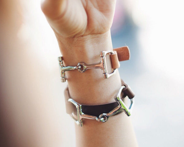 Leather Horse Bit Bracelet Handcrafted D3891 | Ideana