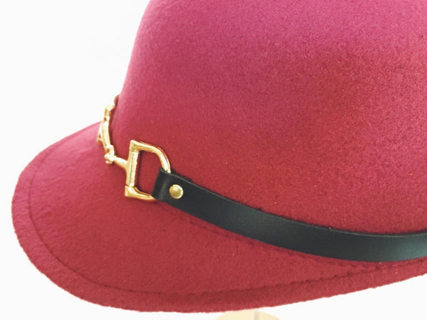 Equestrian Cloche Hat with Horse Snaffle Bit Leather Strap