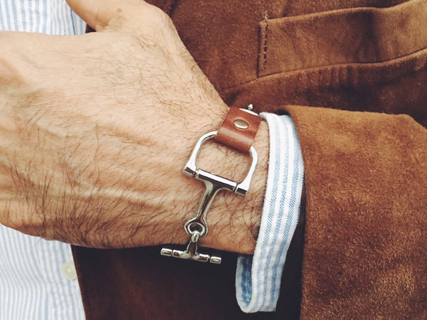 Men's Leather Bracelet, Equestrian Snaffle Bit Bracelet, Men's Bracelet, Leather Bracelet - C1