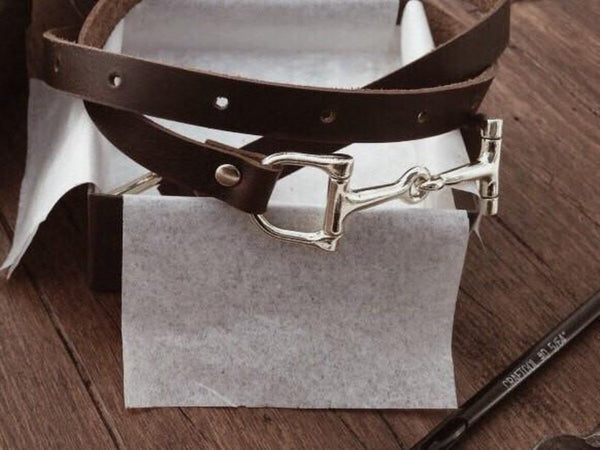 Dark Brown Equestrian Thin Belt | Ideana
