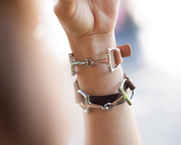 Leather Bracelet for Women with Silver Horse Bit