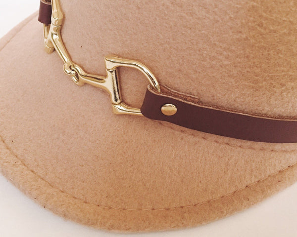 Equestrian cap with leather snaffle horse bit strap,British 1960s mod style Hat