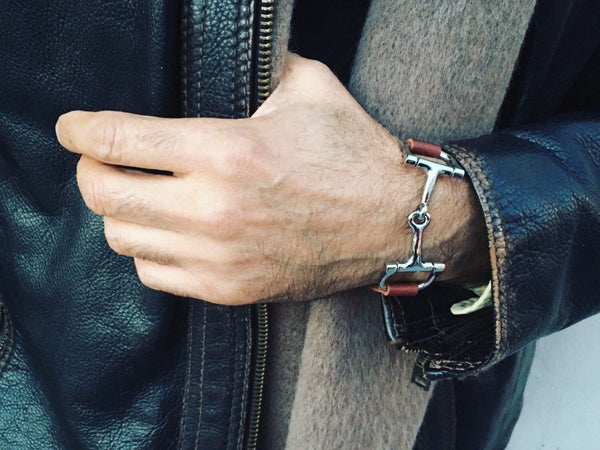 Mens stylish and exotic brown leather horse bit bracelet - C1