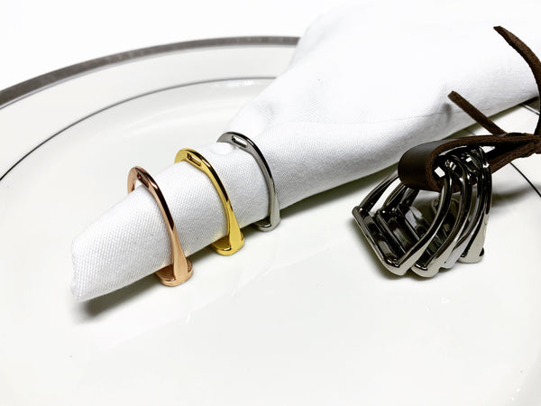 Yellow Gold Silver Napkin Rings | Ideana