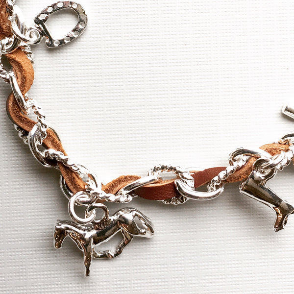 Light Brown Leather Equestrian Horse Charm Bracelet | Ideana