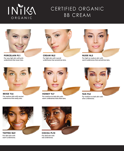 Shade Chart of Inika Certified Organic BB Cream. One Fine Secret Clean Beauty Store Melbourne