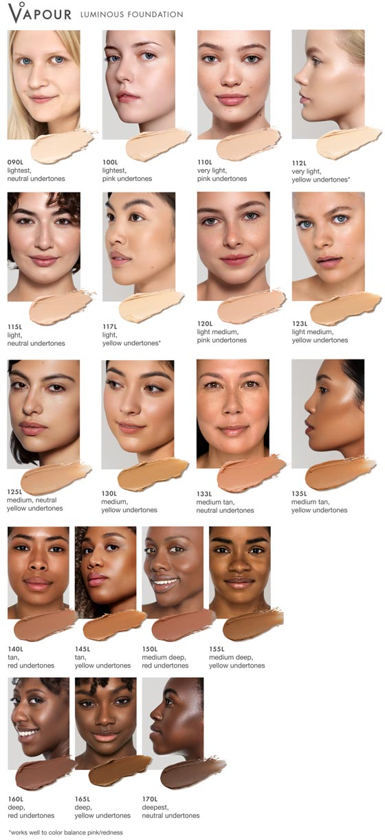 Vapour Beauty Luminous Stick Foundation All Shade Chart at One Fine Secret