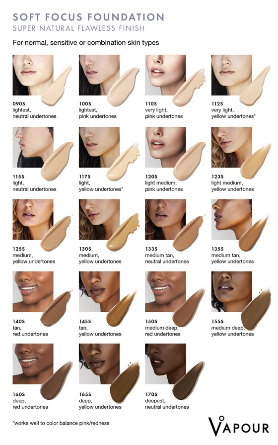 Find your perfect Vapour Beauty Soft Focus Foundation Shade at One Fine Secret!