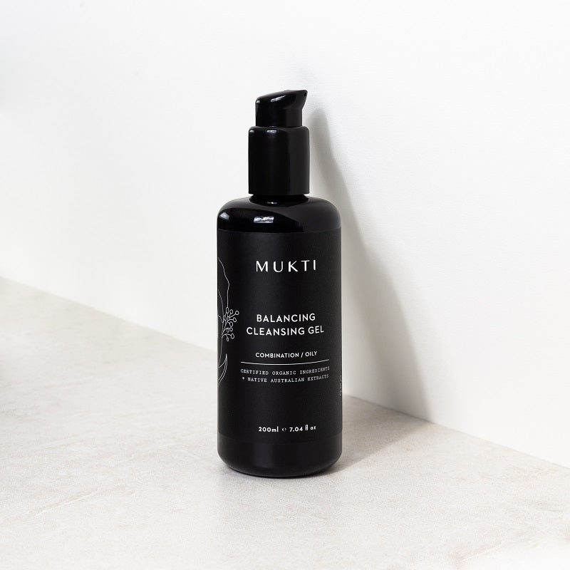 Australian Certified Organic Skincare. Shop Mukti Balancing Cleansing Gel 200ml at One Fine Secret, Natural & Organic Skincare Makeup Clean Beauty Store Melbourne Australia