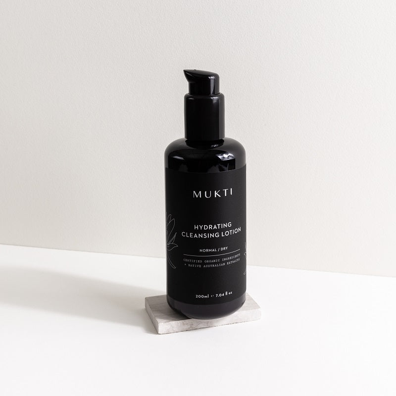 Australian Certified Organic Skincare. Shop Mukti Hydrating Cleansing Lotion 200ml at One Fine Secret, Natural & Organic Skincare Makeup Clean Beauty Store Melbourne Australia