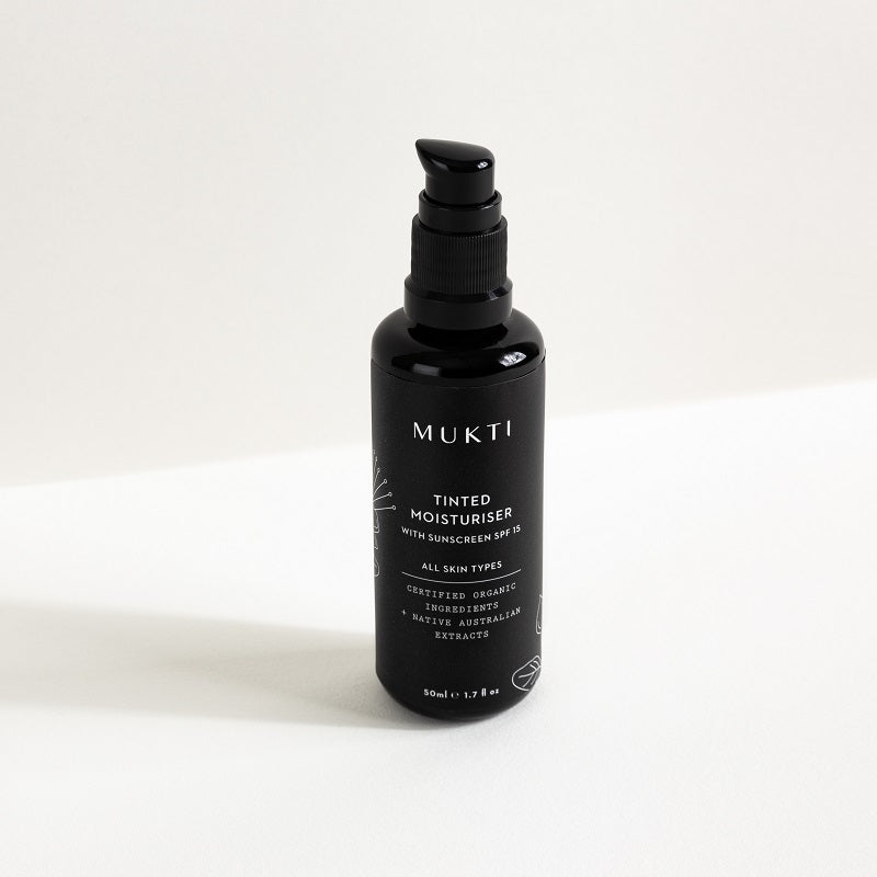 Australian Certified Organic Skincare. Shop Mukti Tinted Moisturiser With Sunscreen SPF15 50ml at One Fine Secret, Natural & Organic Skincare Makeup Clean Beauty Store Melbourne Australia