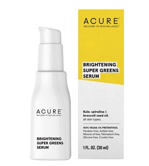 Buy Acure Brightening Super Greens Serum 30ml at One Fine Secret. Natural & Organic Skincare Store in Melbourne, Australia.