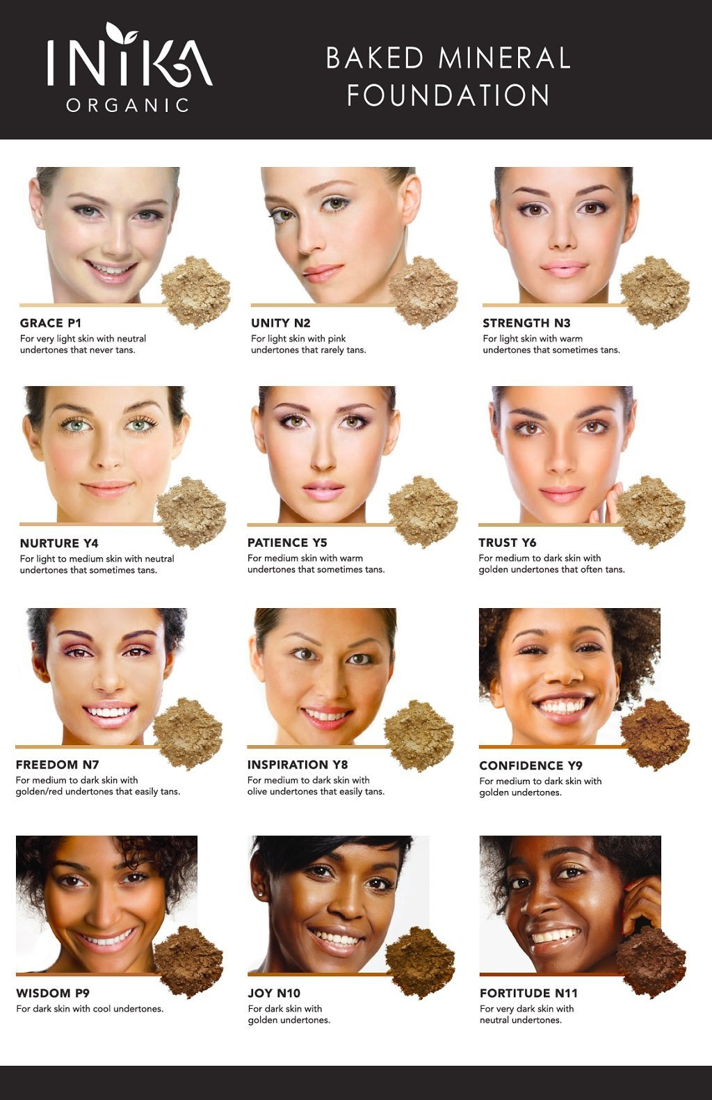 Inika Baked Mineral Foundation Shade Chart. Find your perfect colour at One Fine Secret. Inika Official Stockist in Melbourne, Australia.