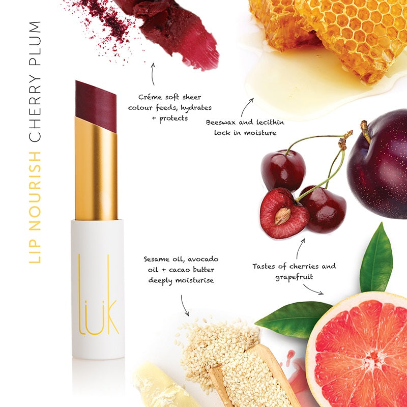 Buy Luk Beautifood Lip Nourish Lipstick in Cherry Plum colour at One Fine Secret. Luk Beautifood Official Australia Stockist in Melbourne.