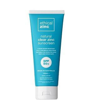 Buy Ethical Zinc SPF50+ Natural Clear Zinc Sunscreen at One Fine Secret. Natural & Organic Skincare Store in Melbourne, Australia.