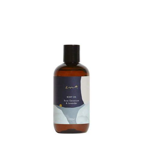 Clean Beauty Body Care. Ena Body Oil - Rose Geranium & Lavender 250ml - One Fine Secret