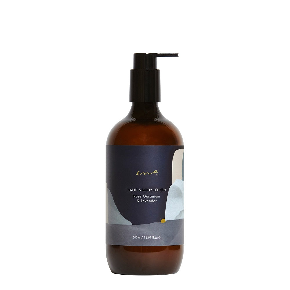Clean Beauty Body Care. Ena Hand & Body Lotion - Rose Geranium & Lavender 500ml - One Fine Secret