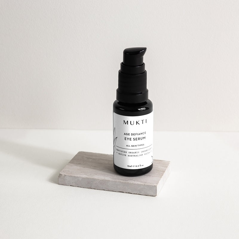 Australian Certified Organic Skincare. Shop Mukti Age Defiance Eye Serum 15ml at One Fine Secret, Natural & Organic Skincare Makeup Clean Beauty Store Melbourne Australia