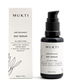 Australian Certified Organic Skincare. Shop Mukti Age Defiance Day Serum 30ml at One Fine Secret, Natural & Organic Skincare Makeup Clean Beauty Store Melbourne Australia