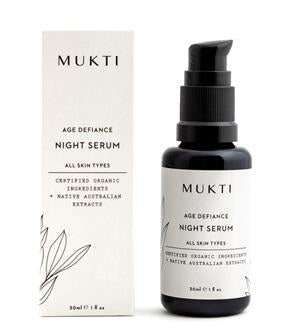 Australian Certified Organic Skincare. Shop Mukti Age Defiance Night Serum 30ml at One Fine Secret, Natural & Organic Skincare Makeup Clean Beauty Store Melbourne Australia