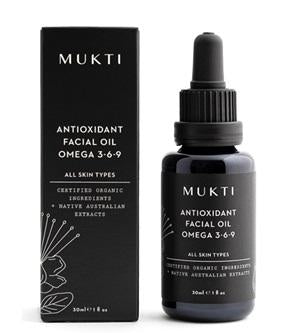 Australian Certified Organic Skincare. Shop Mukti Antioxidant Facial Oil Omega 3-6-9 30ml at One Fine Secret, Natural & Organic Skincare Makeup Clean Beauty Store Melbourne Australia