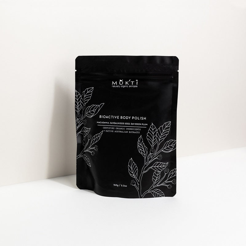 Australian Certified Organic Skincare. Shop Mukti Bioactive Body Polish 150g at One Fine Secret, Natural & Organic Skincare Makeup Clean Beauty Store Melbourne Australia