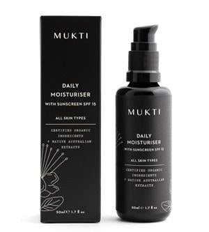 Australian Certified Organic Skincare. Shop Mukti Daily Moisturiser With Sunscreen SPF15 50ml at One Fine Secret, Natural & Organic Skincare Makeup Clean Beauty Store Melbourne Australia