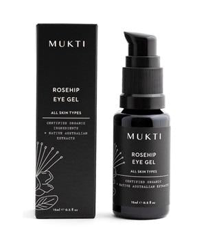 Australian Certified Organic Skincare. Shop Mukti Rosehip Eye Gel 15ml at One Fine Secret, Natural & Organic Skincare Makeup Clean Beauty Store Melbourne Australia